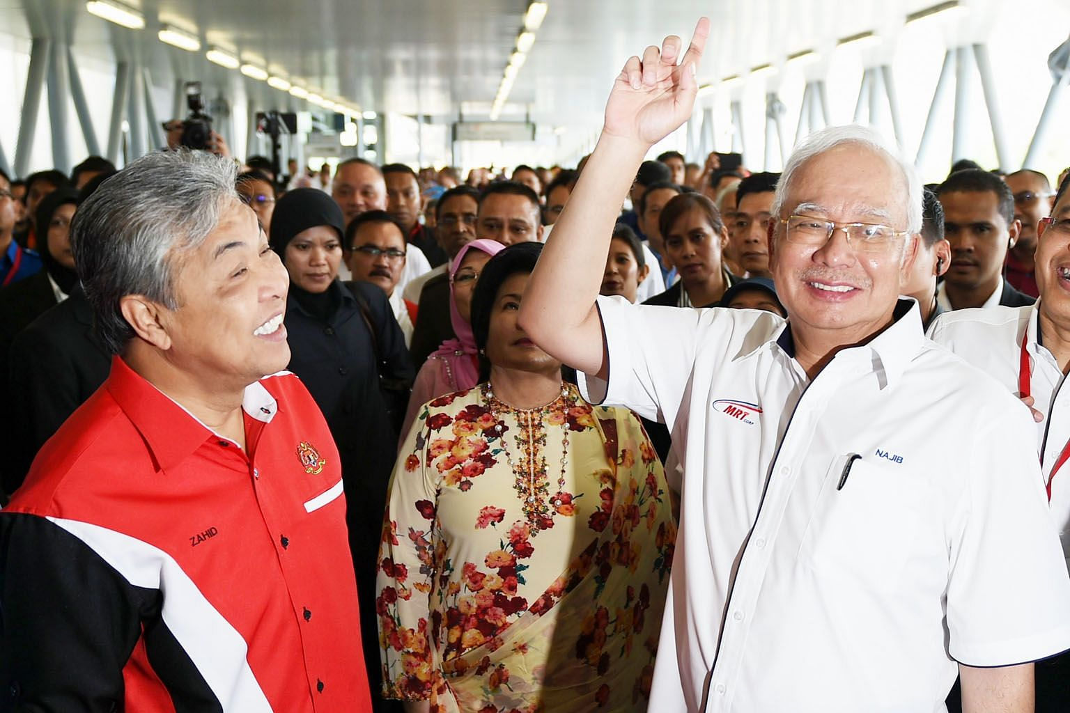 Malaysian Prime Minister Najib Razak (right) and DPM Ahmad Zahid Hamidi (left) at Kajang station last week for the launch of the MRT Sungai Buloh-Kajang line in Kuala Lumpur. The BN has been in power since independence in 1957, making it the longest-