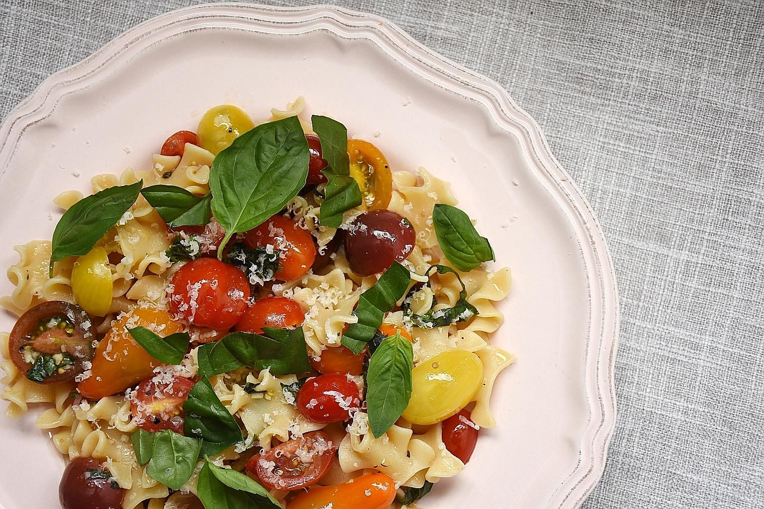 Simply letting a mixture of cherry tomatoes, garlic, anchovies, basil, salt and olive oil sit for a couple of hours creates a huge payoff.