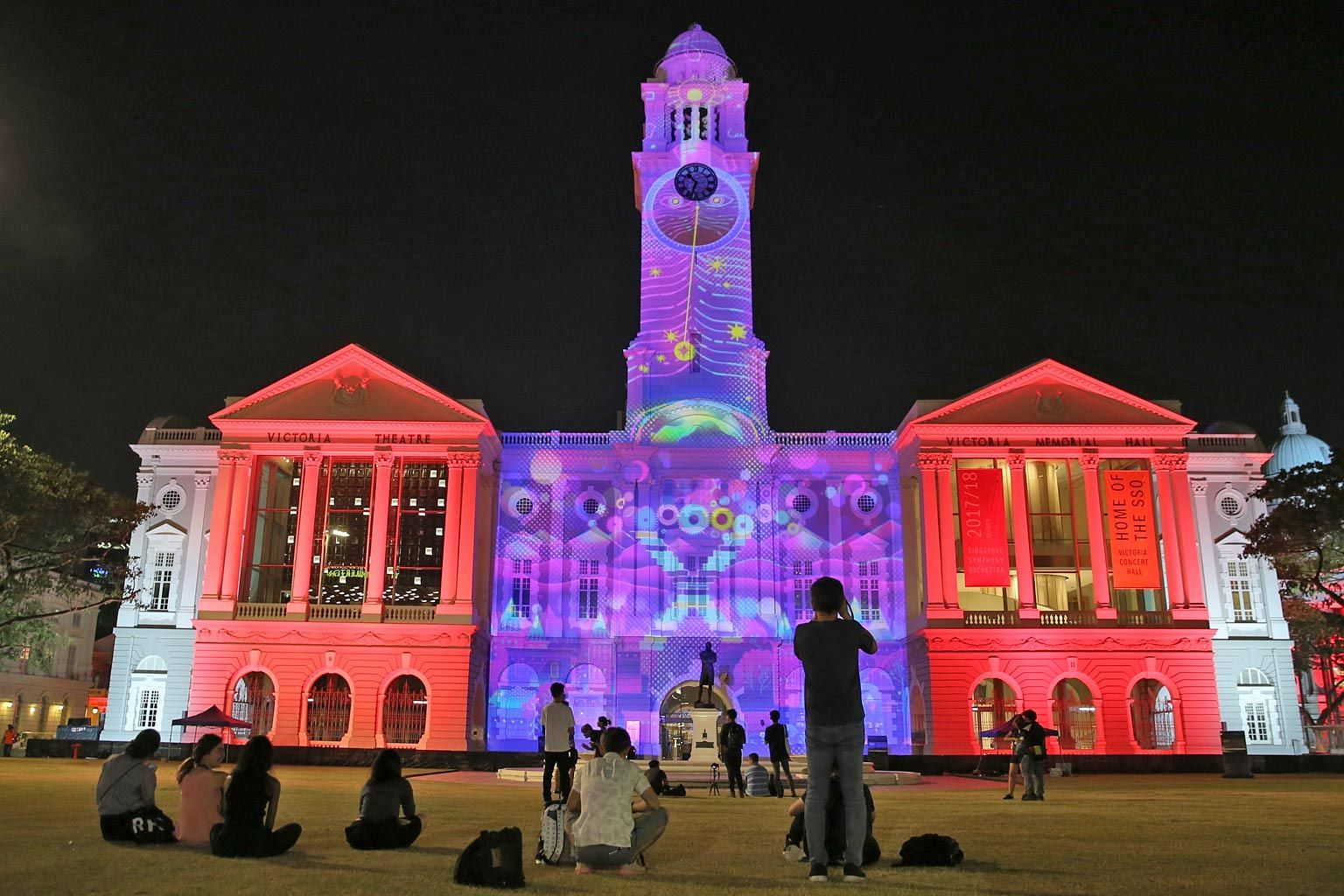 This multimedia projection, called Hemera's Dream, was mapped onto the facade of the Victoria Theatre and Victoria Concert Hall as part of the media preview yesterday for the first civic district light-up. The facades of the National Gallery Singapor