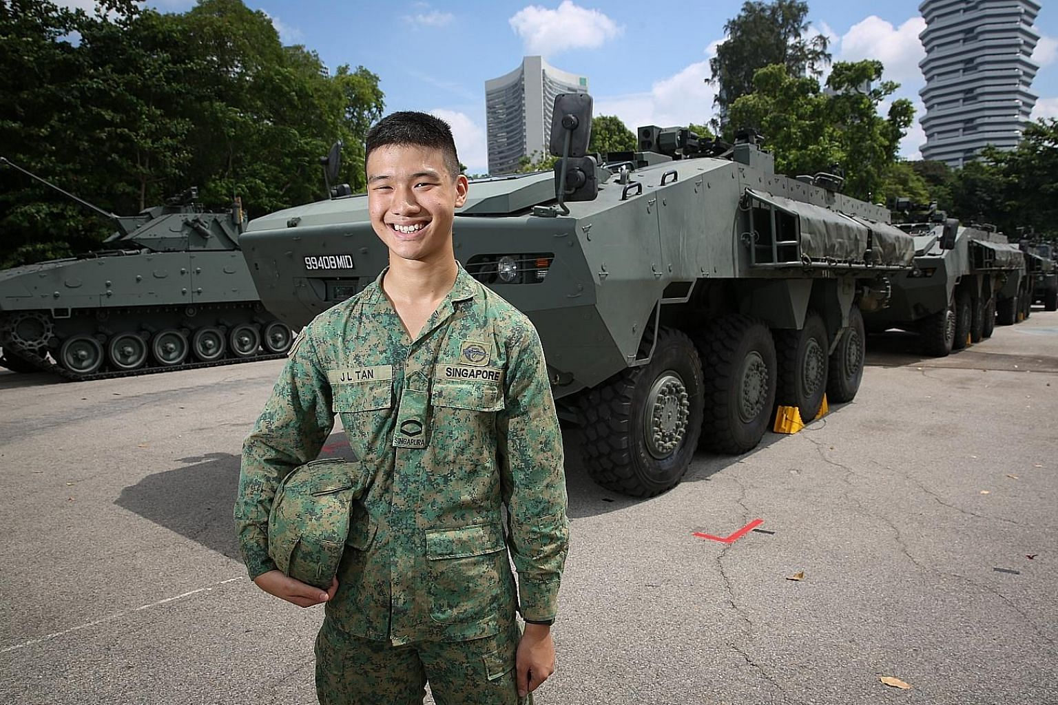 Lance Corporal Tan Jun Lin is driving one of three SAF Terrex Infantry Carrier Vehicles as part of the Dynamic Defence Display.