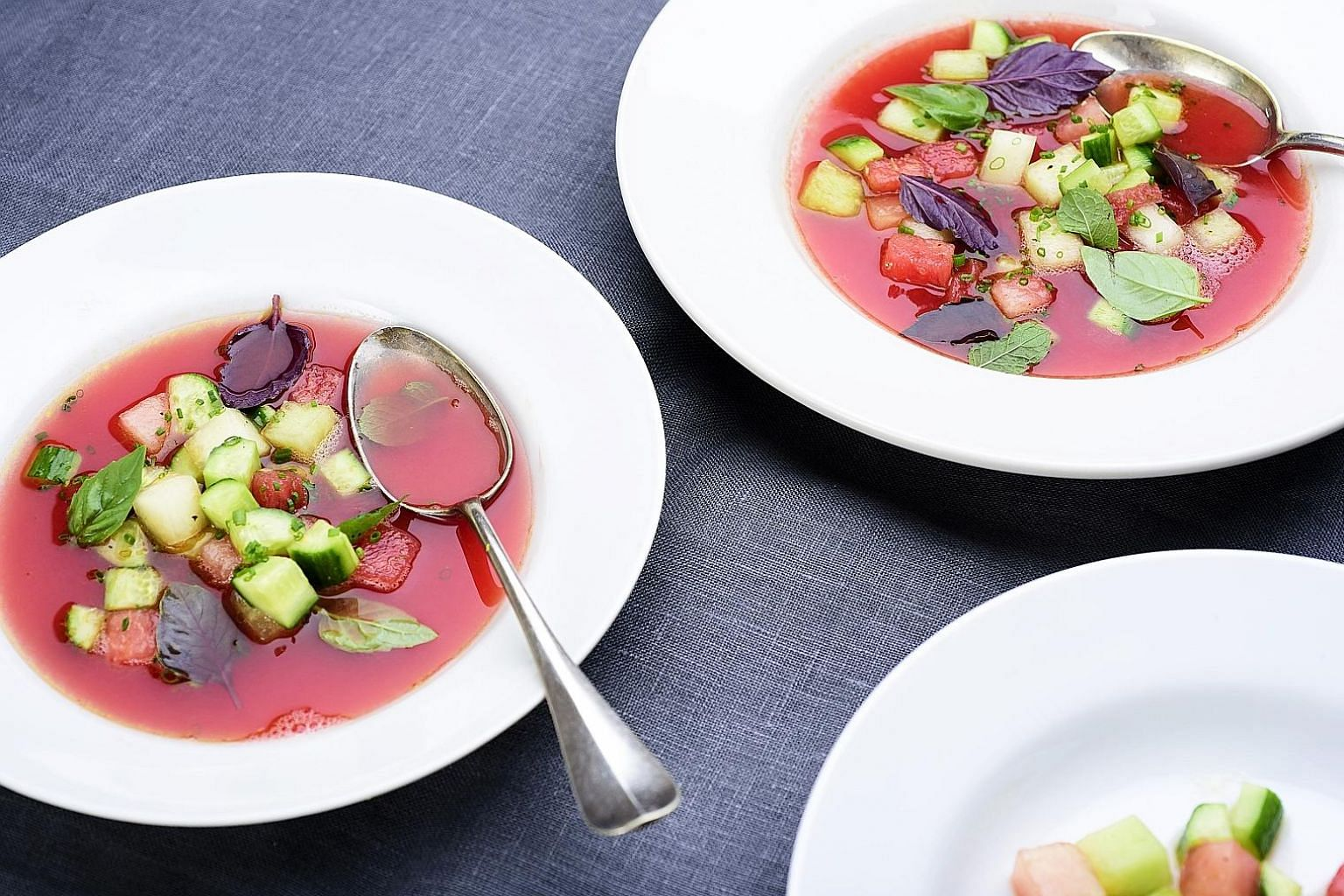 Chilled watermelon soup with hot pepper and lime juice.