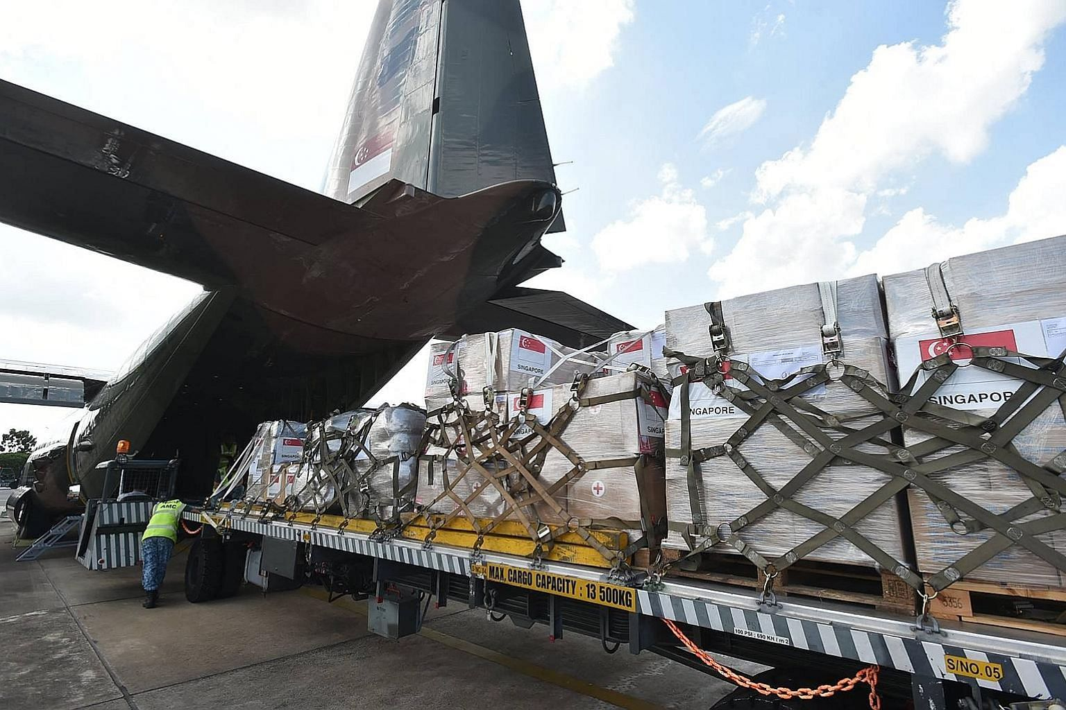 The humanitarian supplies donated by the SAF and Singapore Red Cross for the civilians affected by conflict in Marawi will be delivered by a Republic of Singapore Air Force C-130 transport aircraft.
