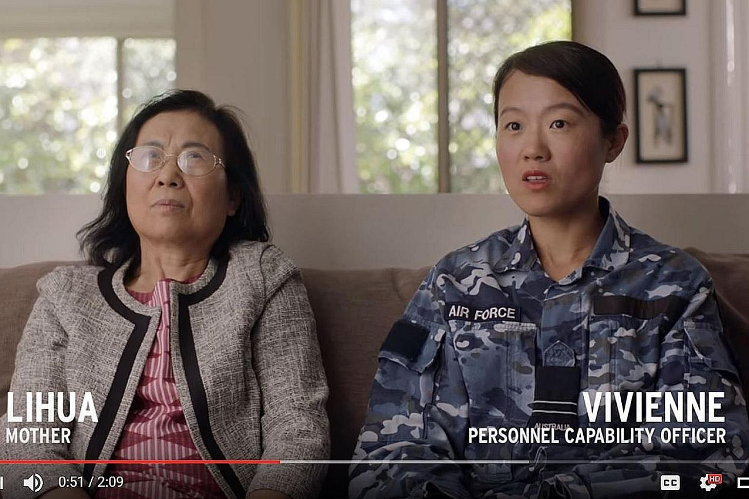 The latest series of recruitment advertisements features military personnel at home with their parents, in an effort to enhance perceptions of the military as a career choice. In this ad, personnel capability officer Vivienne talks about her positive