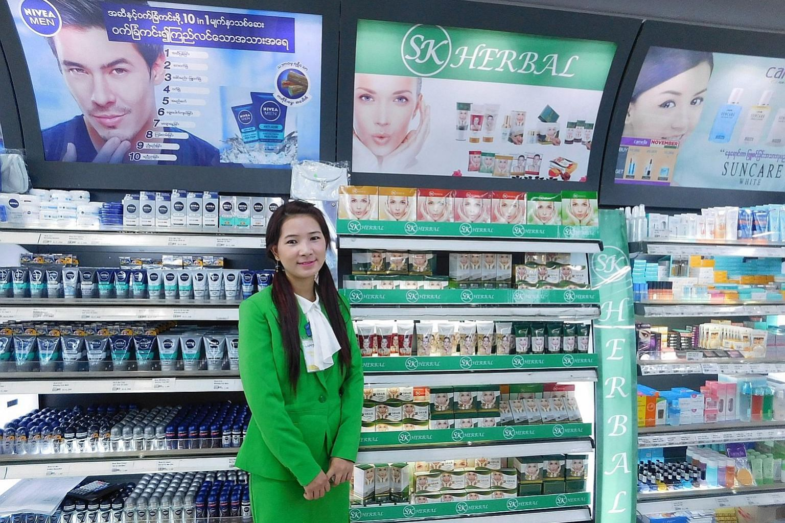 Ms Somsavath Khemsuliyajack wants to expand distribution of her SK Herbal brand of cosmetics throughout Asean by the end of next year. SK Herbal's cosmetics on display in Myanmar. The brand has become recognised in the country and its products are so