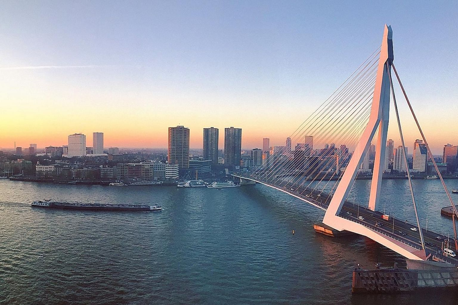 The Erasmus Bridge in Rotterdam, a city of futuristic architecture and an abundance of art and design.