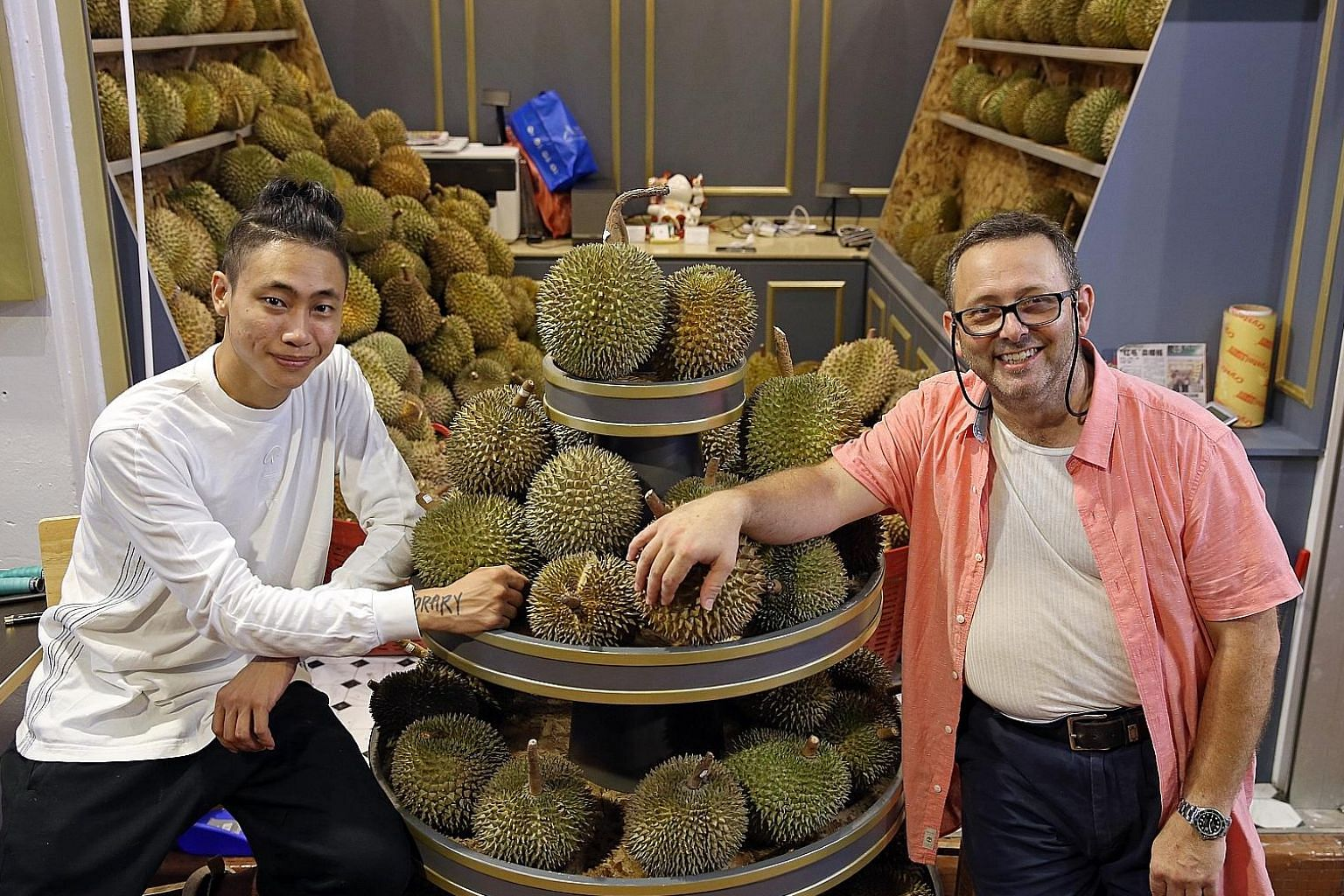 Mr Phillip George Laskaris (right) teamed up with Mr Marc Ashley to open Yu Lian, which specialises in Thai durian.