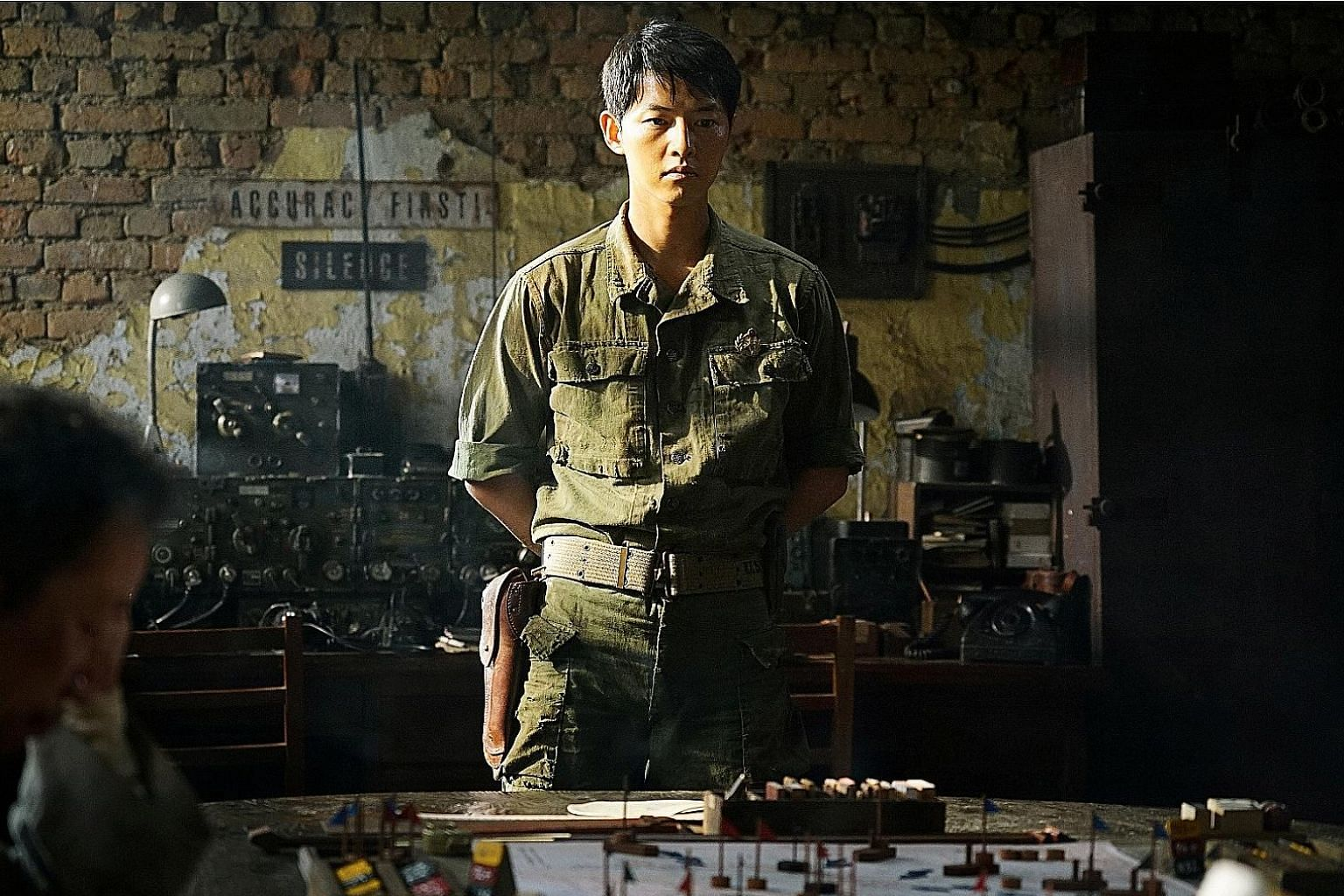 Song Joong Ki (above) plays a soldier sent on a mission to a forced labour camp in The Battleship Island.