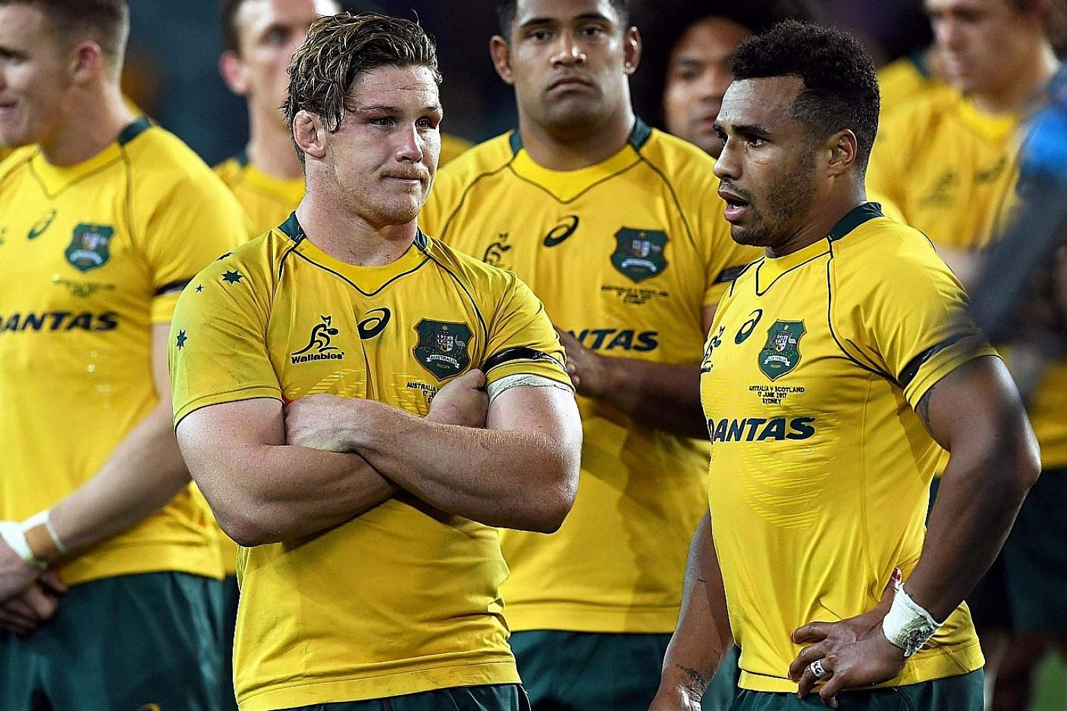 Captain Michael Hooper (left) and players are stunned by the shock loss in June to Scotland and things have not improved since.