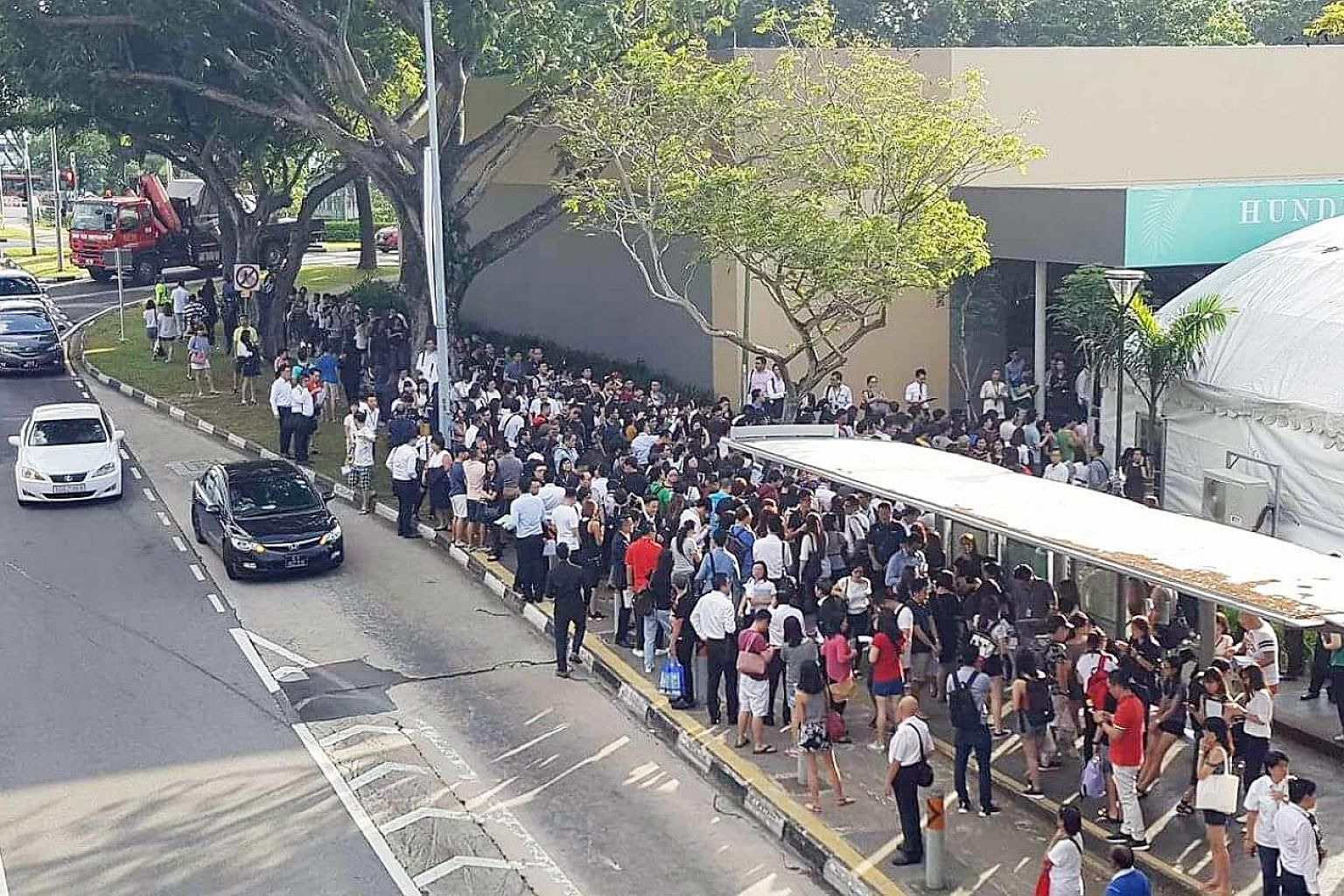 The turnout at the launch of the Hundred Palms Residences executive condominium in Yio Chu Kang Road on July 22. All 531 units were sold that day at a median price of $834 per sq ft.