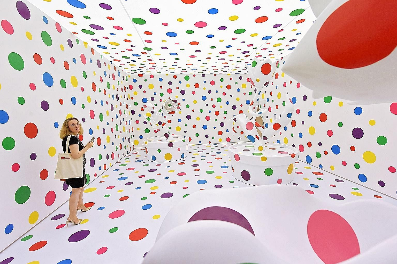 With All My Love For The Tulips, I Pray Forever (2013) is part of the exhibition Yayoi Kusama: Life Is The Heart Of A Rainbow, at the National Gallery Singapore.
