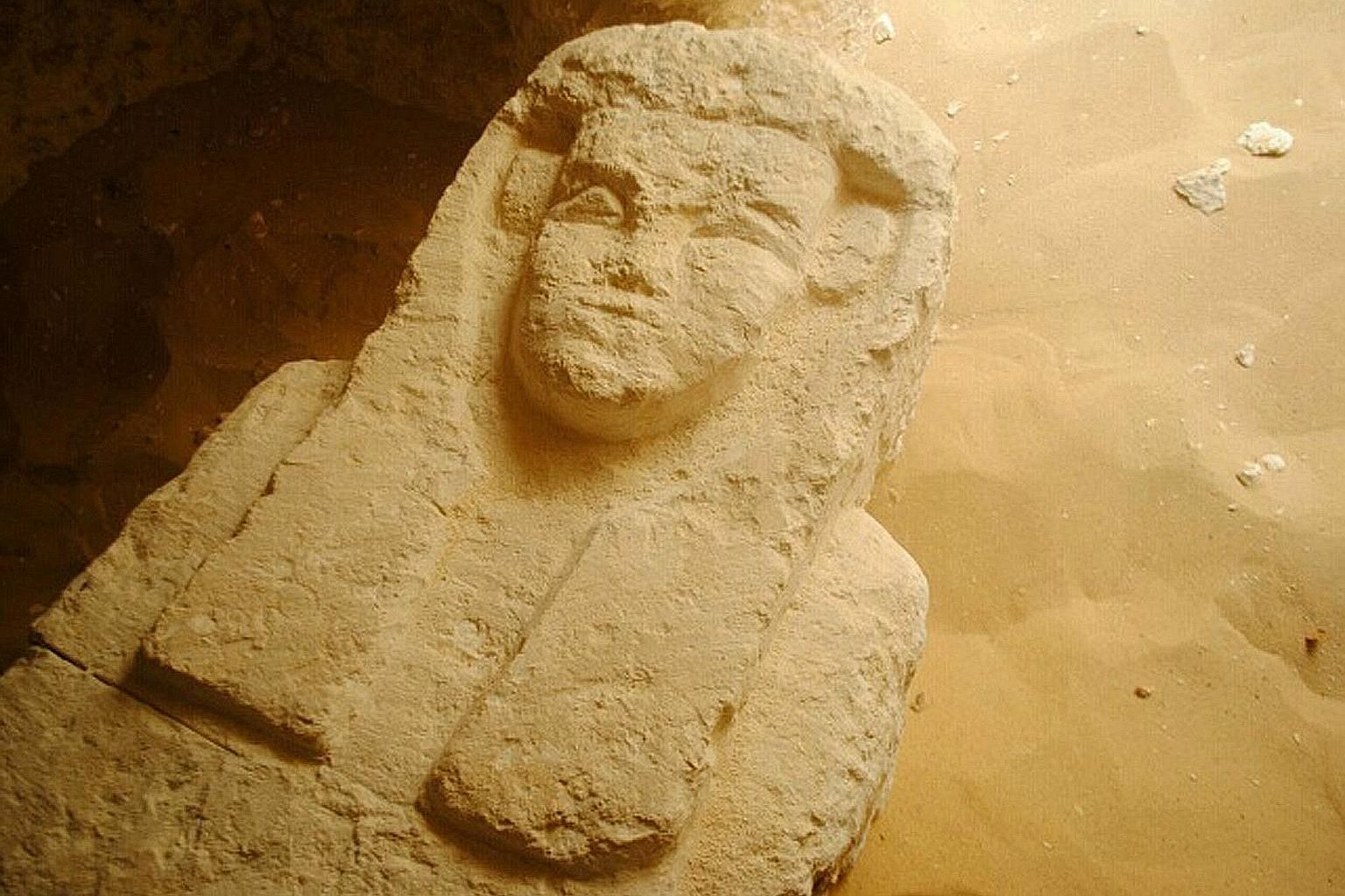 One of the sarcophagi that was found in a cemetery south of Cairo dating back about 2,000 years. Three tombs were found by archaeologists.