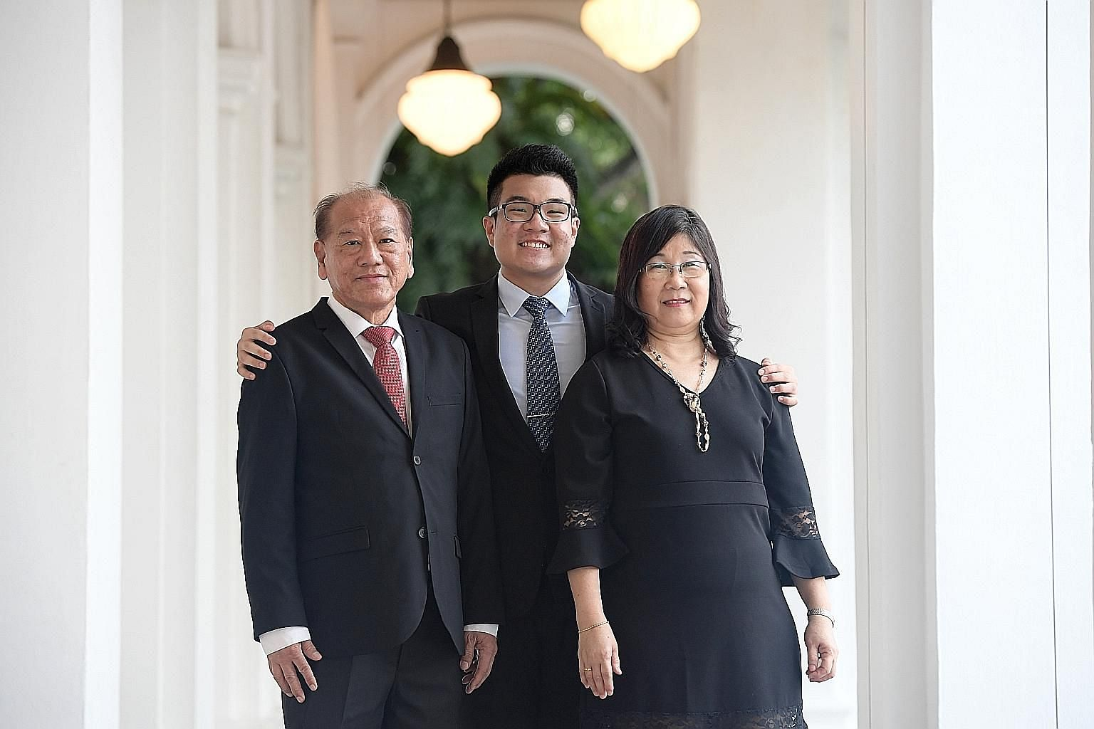 The fifth President's Scholar, Mr Lee Tat Wei, with his parents Lee Yeow Shoon, 69, and Teo Kwee Hiang, 59. The former ACS (I) student will be heading to Yale University to study liberal arts.