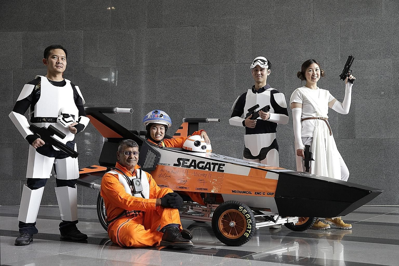 Yolo team members from Seagate Singapore Design Centre The Shugart, including (from far left) Henry Go, Xavier J. Paliath, Goh Sok Li, Win Yongrattana and Chong Sien Huay, modelled their soapbox racer after the Star Wars X-wing starfighter.