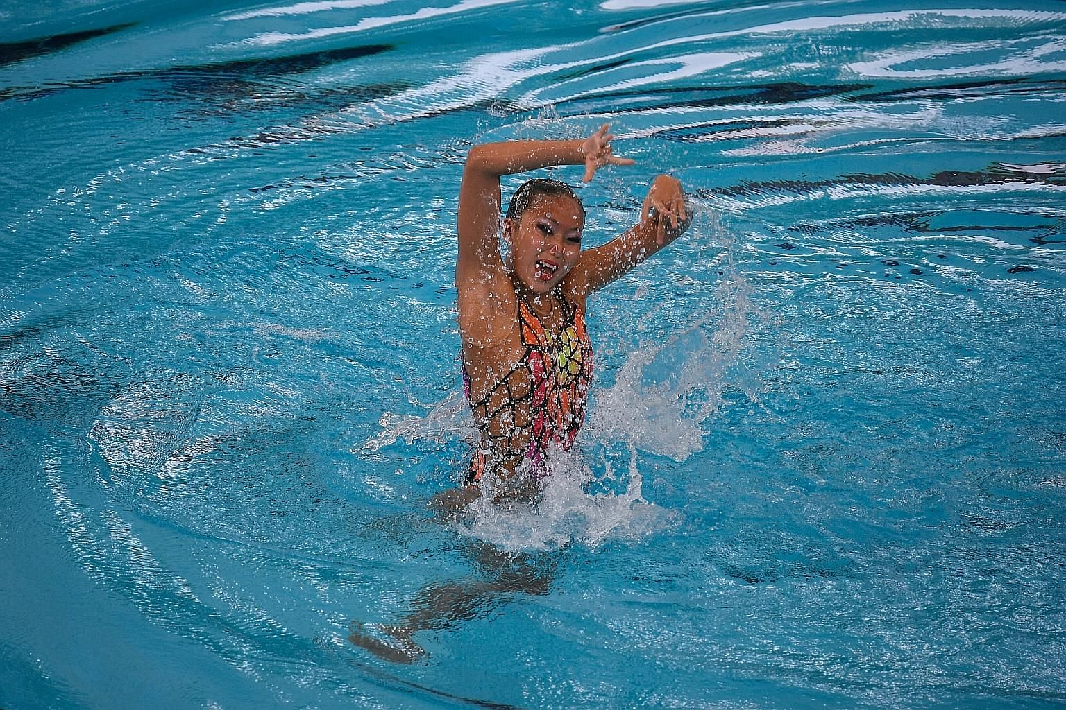 Debbie Soh in her gold medal-winning synchronised swimming routine. While the 75.0000 was not her best score, it was good enough.
