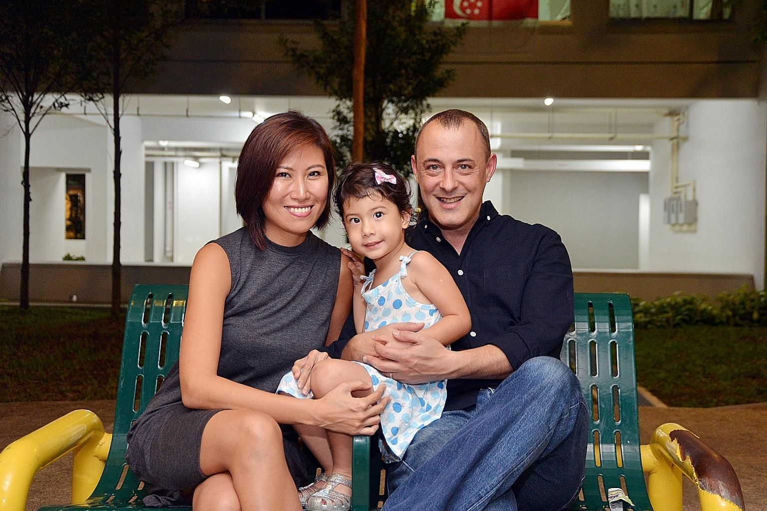 "British-French national Alex Fenby, with wife Jasmine Ng, 33, and daughter Ella, 21/2, first moved to Singapore in 1998, and considers himself ""more Singaporean than European"". He was keen to immerse his children in a mixed-language environment and,"
