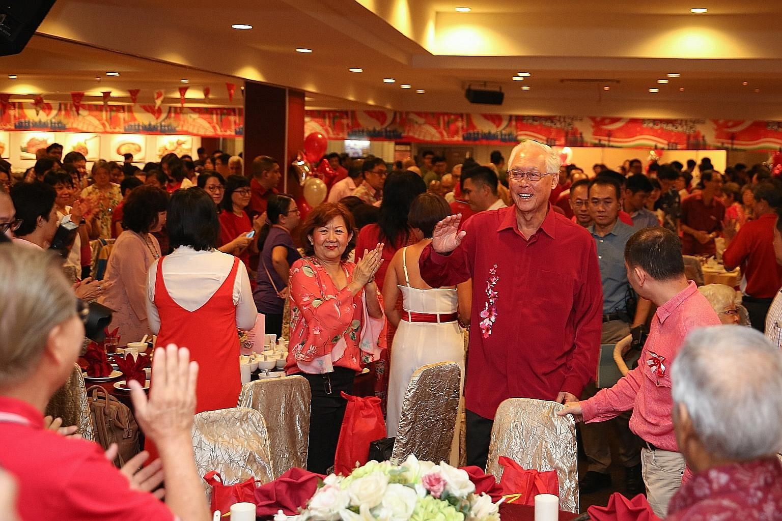 "Emeritus Senior Minister Goh Chok Tong at the National Day dinner in his Marine Parade ward yesterday. In his speech, Mr Goh said the Government has introduced ""Singapore-style innovations"" to the Westminster parliamentary system over the years to st"