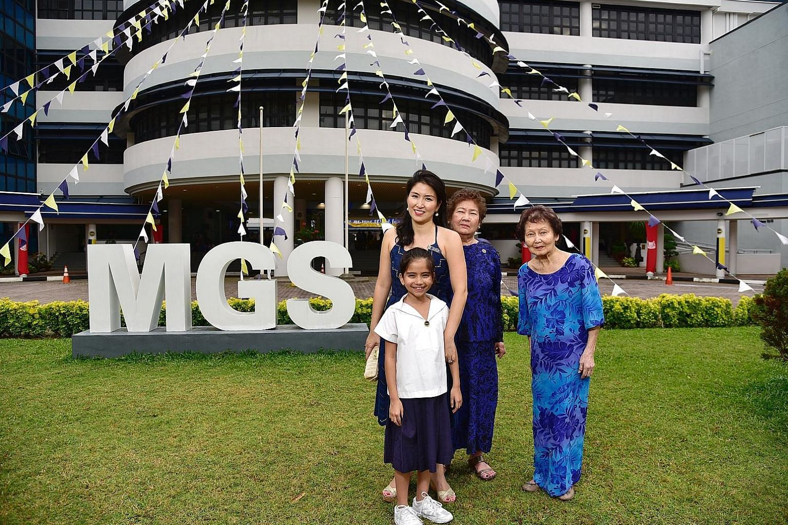 Astrid Natalya Virk, a pupil at Methodist Girls' School, with (from left) her mother Joy-Marie Toh, her grandmother Victorine Chen and her great- grandmother Happy Chen, all former students of MGS. Maintaining ties with the school is part of our heritage,