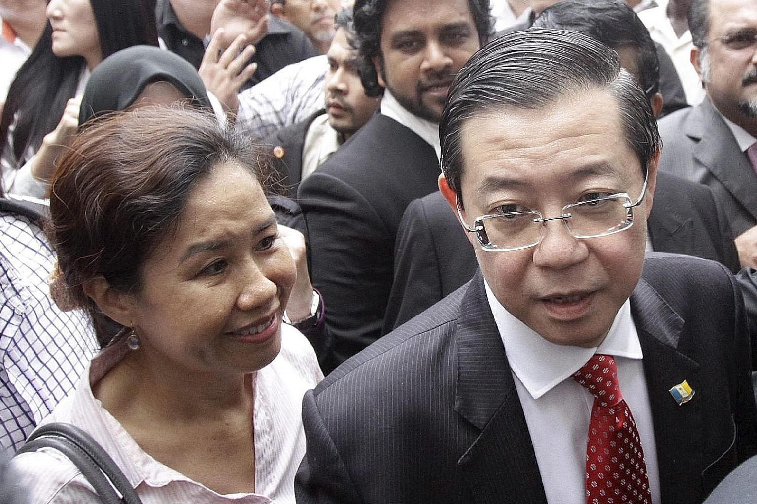 Democratic Action Party secretary- general Lim Guan Eng and his wife, Madam Betty Chew. Today, Mr Lim leads Malaysia's largest opposition party, including many who are fanatically loyal to him despite recent setbacks.