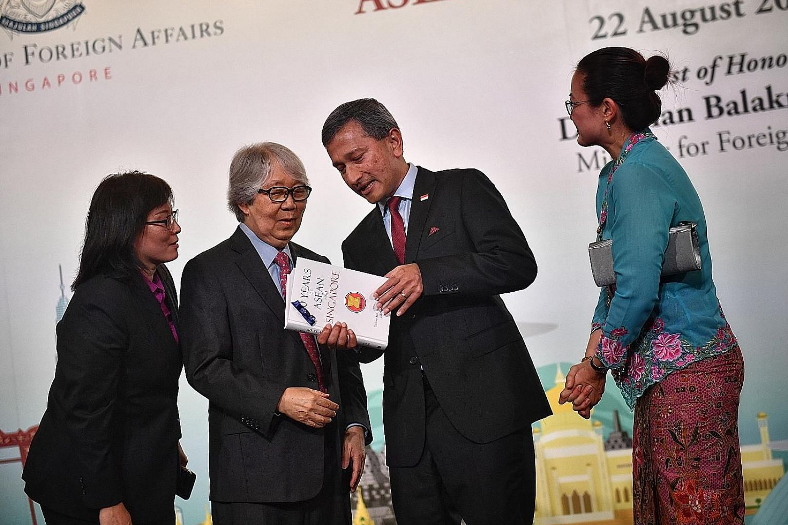 At the launch of the book, Fifty Years Of Asean And Singapore, yesterday were Foreign Minister Vivian Balakrishnan and the book's co-editors (from left) former IPS deputy director Chang Li Lin, Professor Tommy Koh and Ms Sharon Seah of NUS' Centre fo