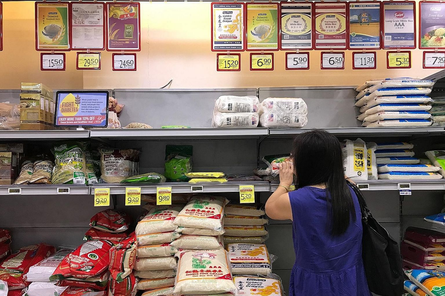 FairPrice has announced discounts of at least 10 per cent on healthier rice products, including unpolished red and brown rice products from its house brand, until next Wednesday. The supermarket chain hopes to encourage Singaporeans to switch to the