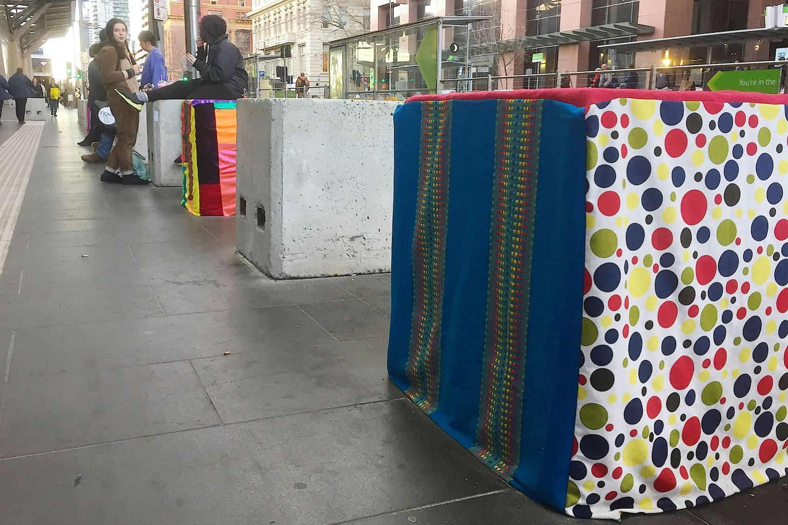 "Security concrete blocks decorated by ""guerilla artists"" have been set up around Melbourne's central business district to stop vehicle-based militant attacks. Local councils across Australia have already started rolling out counter-terrorism measures"