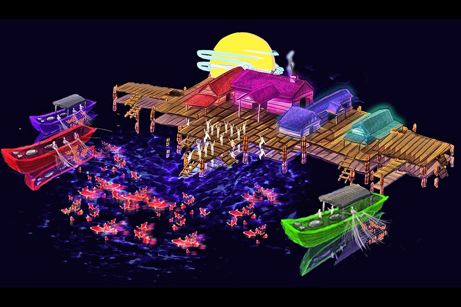 Artist's impression of the largest display, the Waters of Prosperity lantern set which depicts a fishing village.