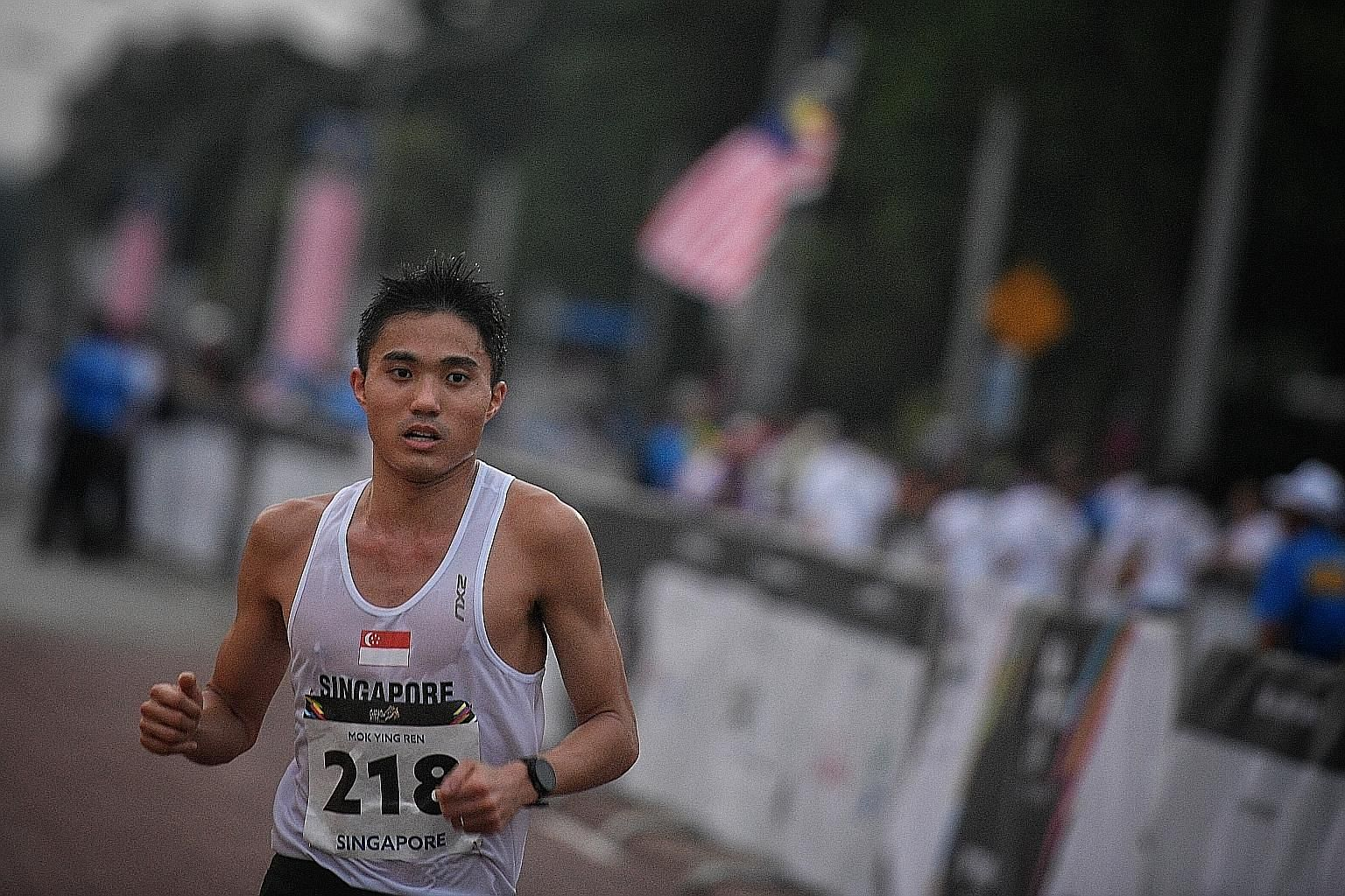 Singapore marathoner Mok Ying Ren is drenched in sweat during the marathon at the SEA Games last week. Sweating is an important process because it allows excess heat to escape from our bodies during exercise.