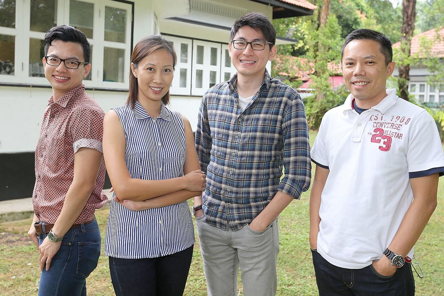 (From left) Mr Varian Lim, Ms Paveena Seah, Mr Eugene Teng and Dr Leong Chan-Hoong of the Institute of Policy Studies Social Lab will be conducting the first longitudinal survey of youth in Singapore. The nationwide survey will track 3,600 people bet