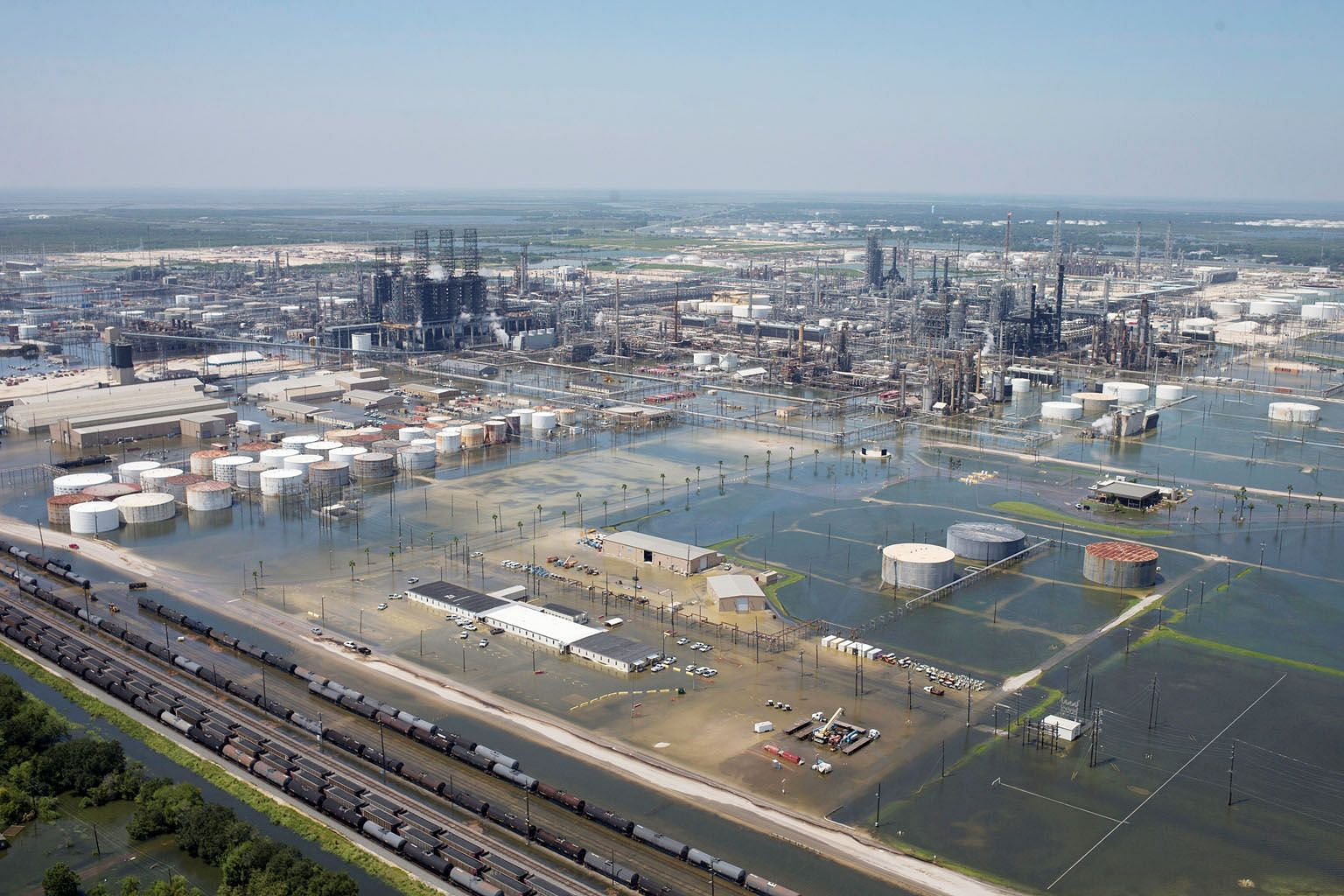 Flood waters have damaged parts of refiner Motiva Enterprises in Texas.