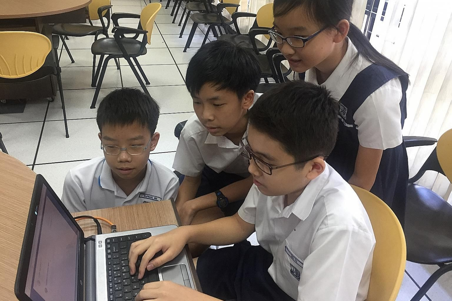 Taking part in the C@RS programme are (from left) Primary 6 pupils Raphael Niu Zi Yuan, Evan Lim Hong Jun, Wu Yu and Liu Yihua, all aged 12.