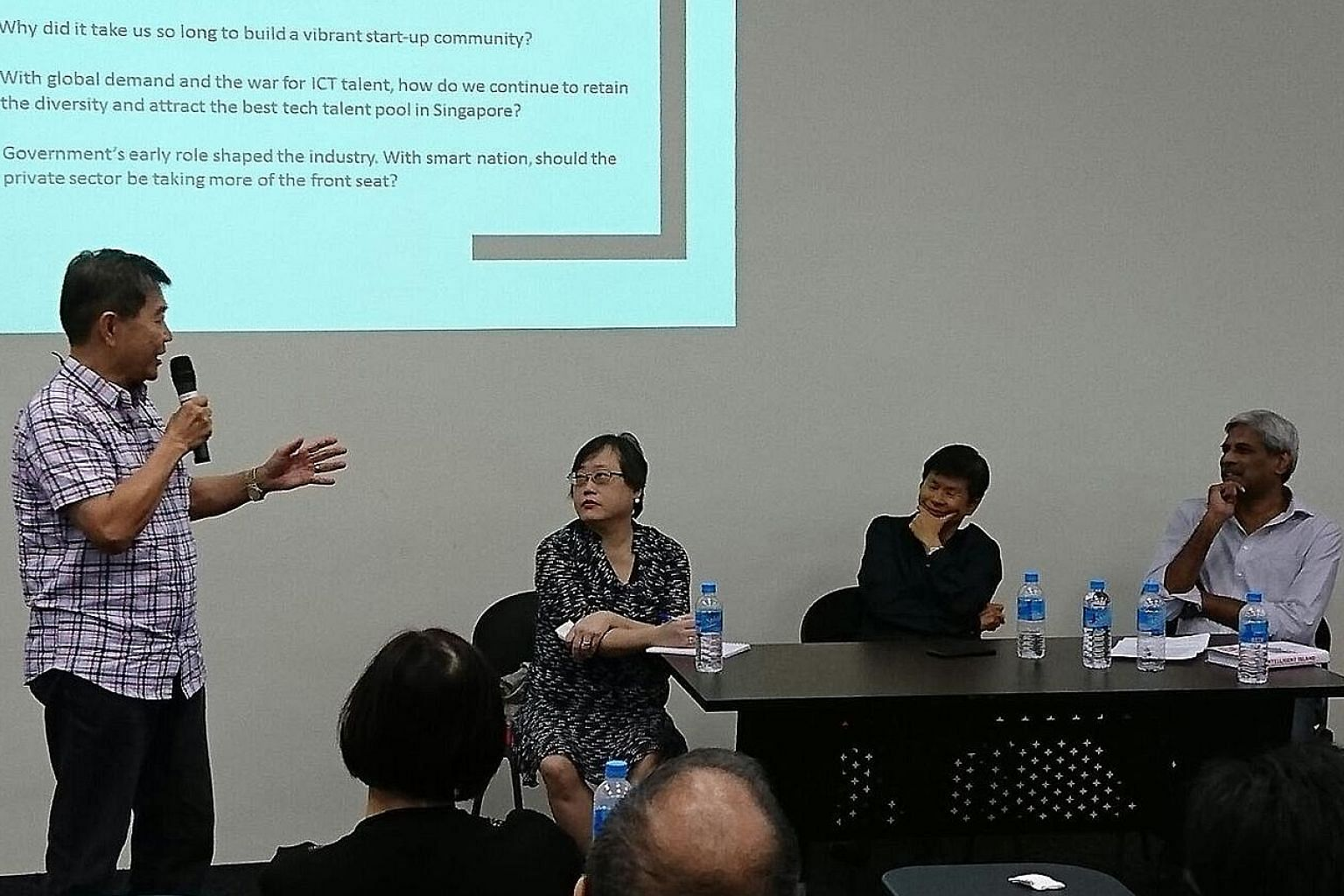 (From left) IT industry veteran William Liu, Straits Times senior writer Cheong Suk-Wai and Intelligent Island co-authors Grace Chng and P. Ramakrishna at The Big Read Meet last Wednesday.