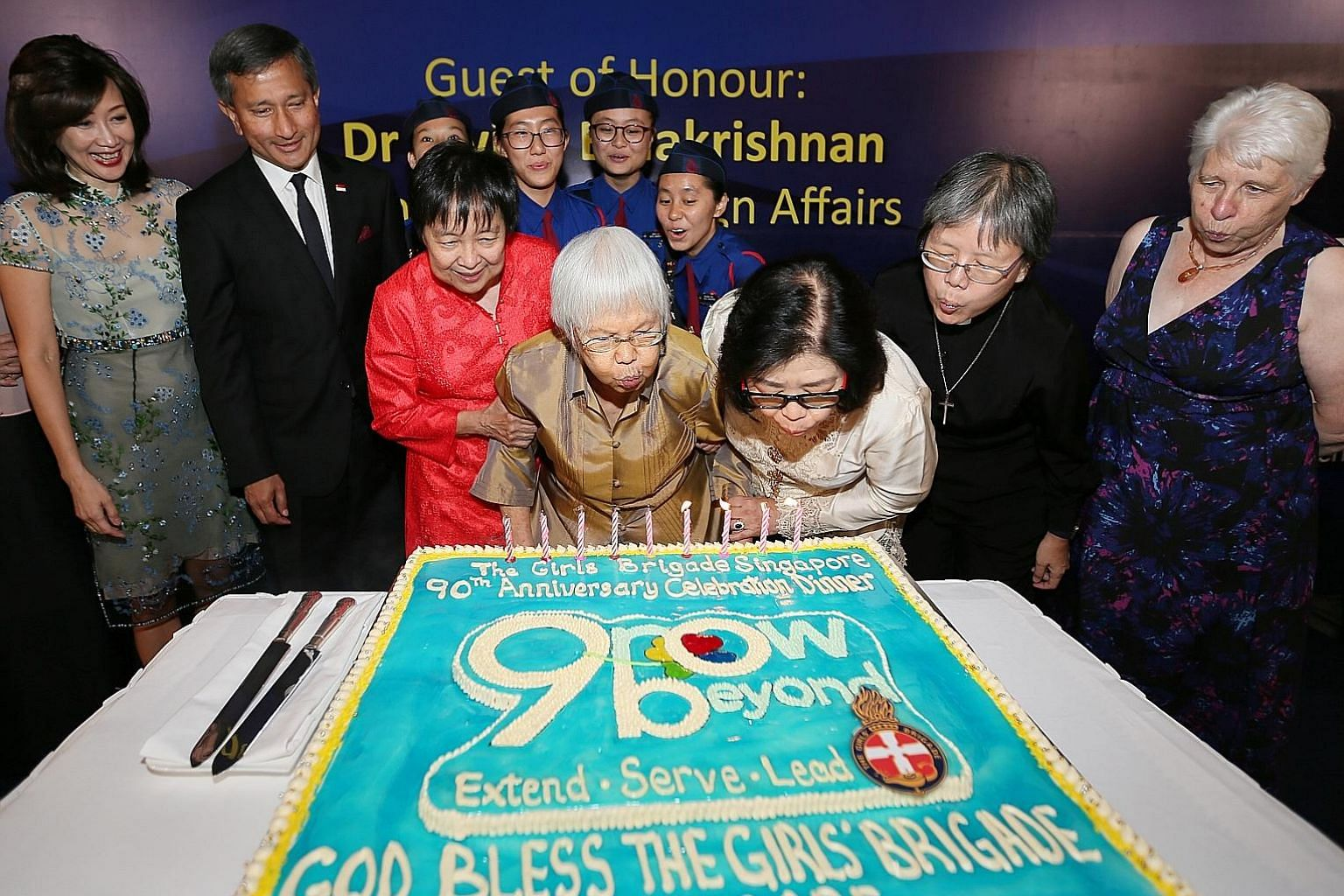 (From far left) Mrs Joy Balakrishnan, Dr Vivian Balakrishnan, Ms Hee Piang Chin, Mrs Tay Poh Luan, Girls' Brigade (GB) Singapore president Sally Chew, GB Singapore chaplain Reverend Lilian Ang and GB international president Vivienne Aitchison, with G