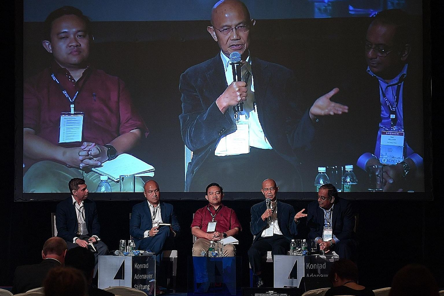 Participants at one of the panels at the Asian Conference for Political Communication: (From left) ST editor Warren Fernandez, S. Rajaratnam School of International Studies dean Joseph Liow, chief executive of Malaysia's Institute for Democracy and E