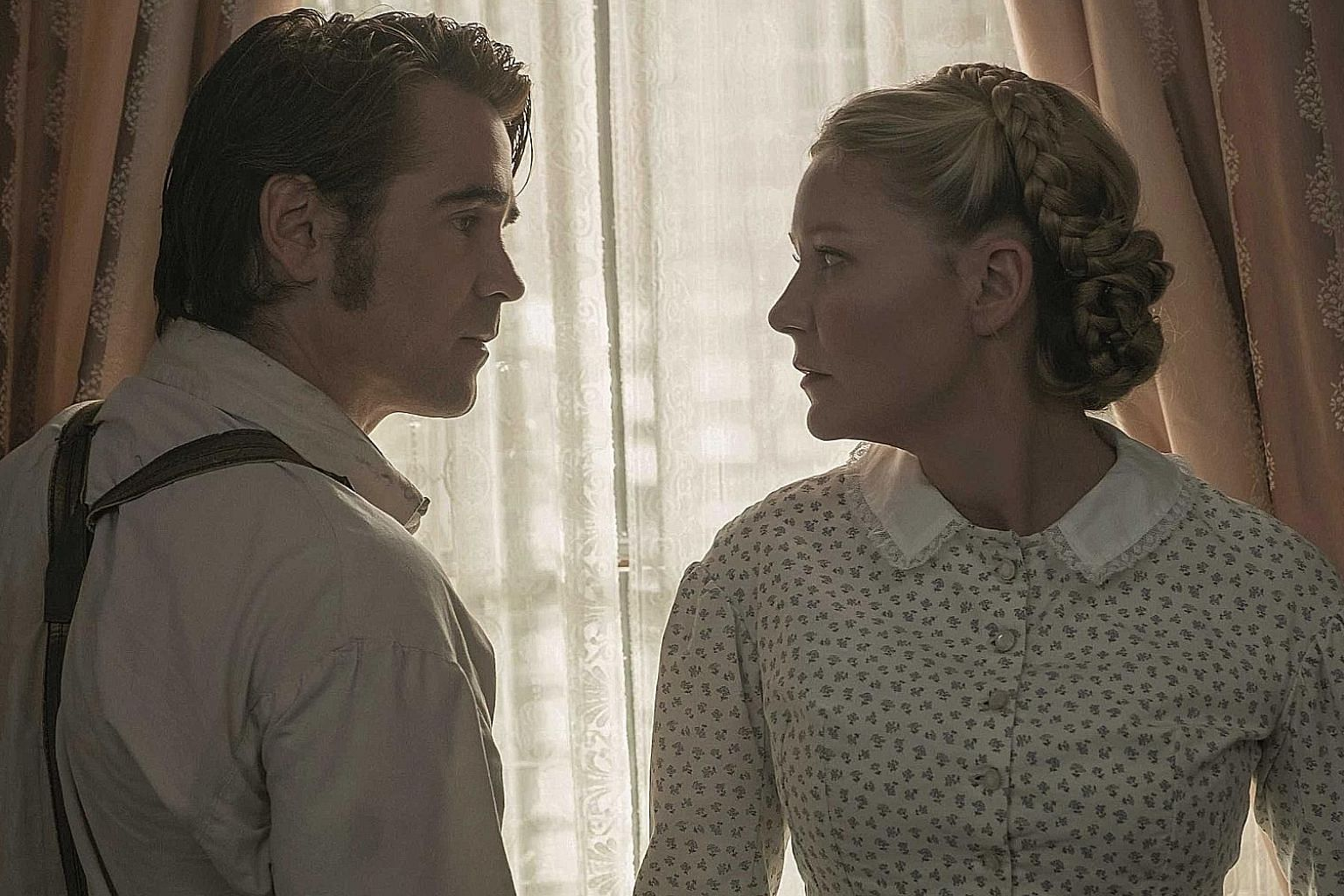 Colin Farrell plays an injured soldier and Kirsten Dunst is a disapproving teacher in The Beguiled.