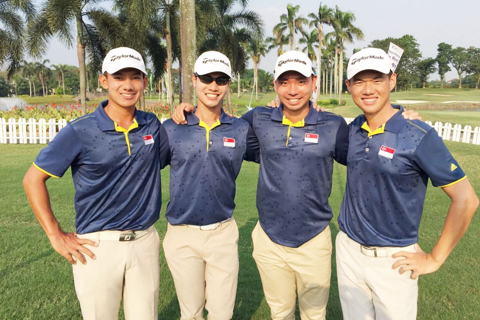 Singapore golfers (from left) Marc Ong, Gregory Foo, Joshua Shou and Joshua Ho are going great guns in the Putra Cup, leading Thailand in the team event by three shots entering the final day.