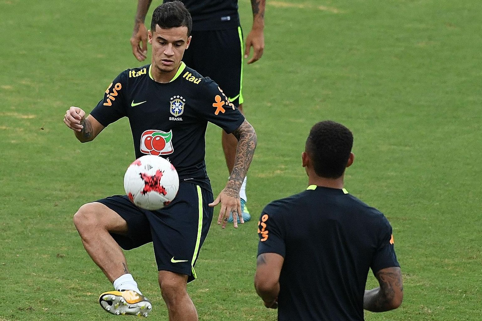 Philippe Coutinho training in Barranquilla, Colombia ahead of Brazil's World Cup qualifier on Tuesday. He came on as a sub against both Colombia and Ecuador earlier but Liverpool manager Jurgen Klopp wants him to be better conditioned before returnin