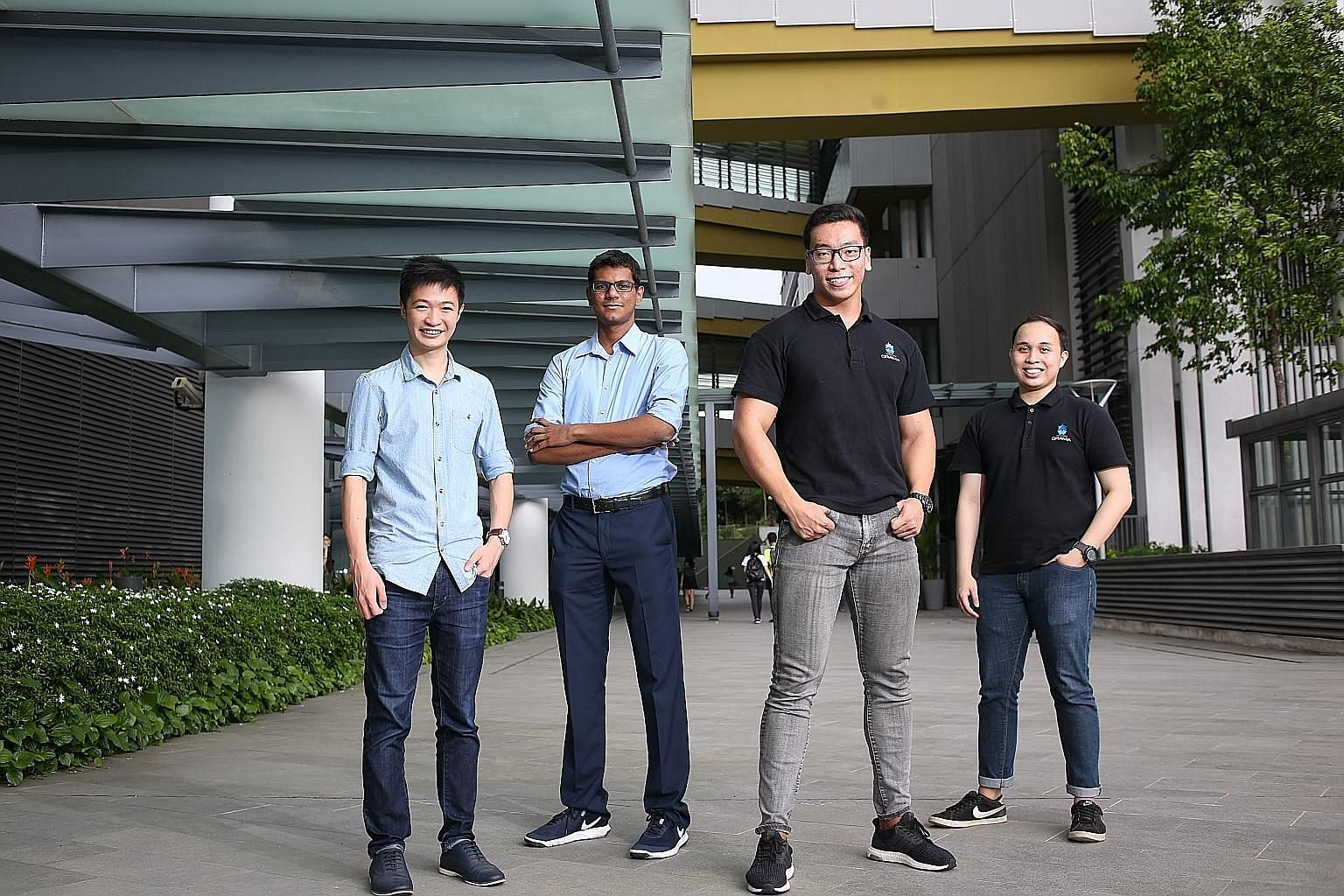 Participants of the new course, accredited by SUSS and run in partnership with Alibaba Cloud, include (from left) undergraduate Rayner Loi, 23, and Keshav Sivakumar, 18, the founders of start-up Good for Food; and Mr Clinton Li and Mr Mohamad Raihan