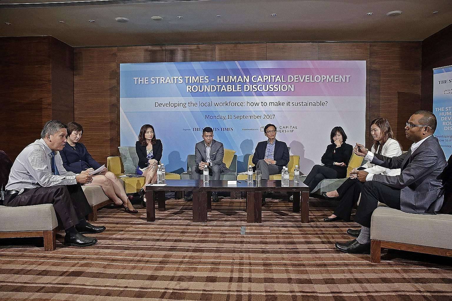 (From left) ST manpower correspondent Toh Yong Chuan with panellists Selena Huynh, deputy CEO of the Institute for Human Resource Professionals; Merle Chen, chief talent officer of The Lo & Behold Group; Kenneth Wong, director of Workforce Singapore'
