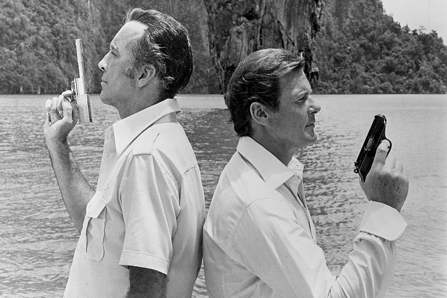 Left: Christopher Lee and Roger Moore in The Man With The Golden Gun, filmed in Thailand. Above: Sean Connery and Catherine Zeta-Jones in Malaysia for the filming of Entrapment.