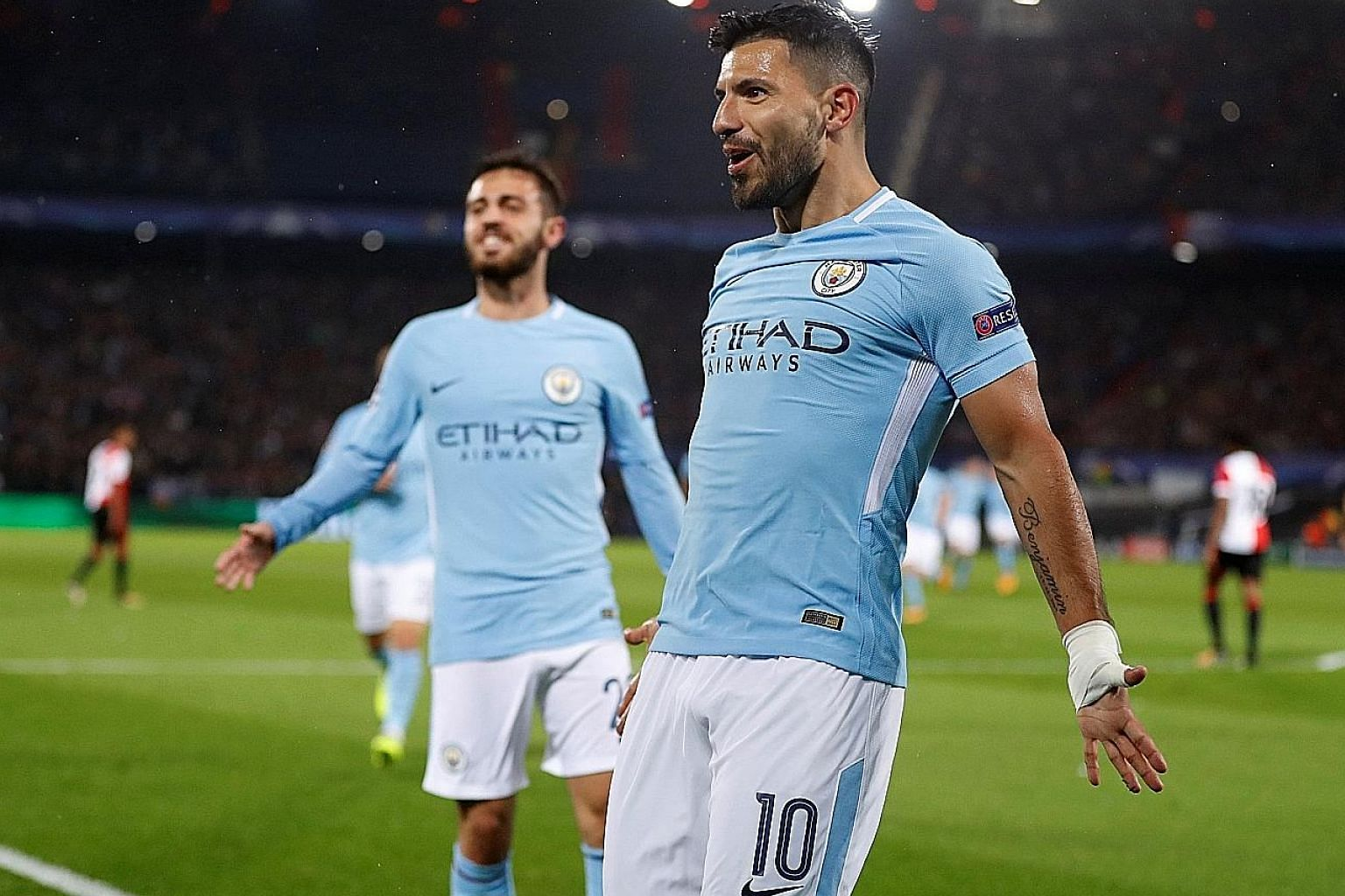 Sergio Aguero celebrating after scoring Manchester City's second goal in the 4-0 victory against Feyenoord in their Champions League Group F game in Rotterdam on Wednesday.
