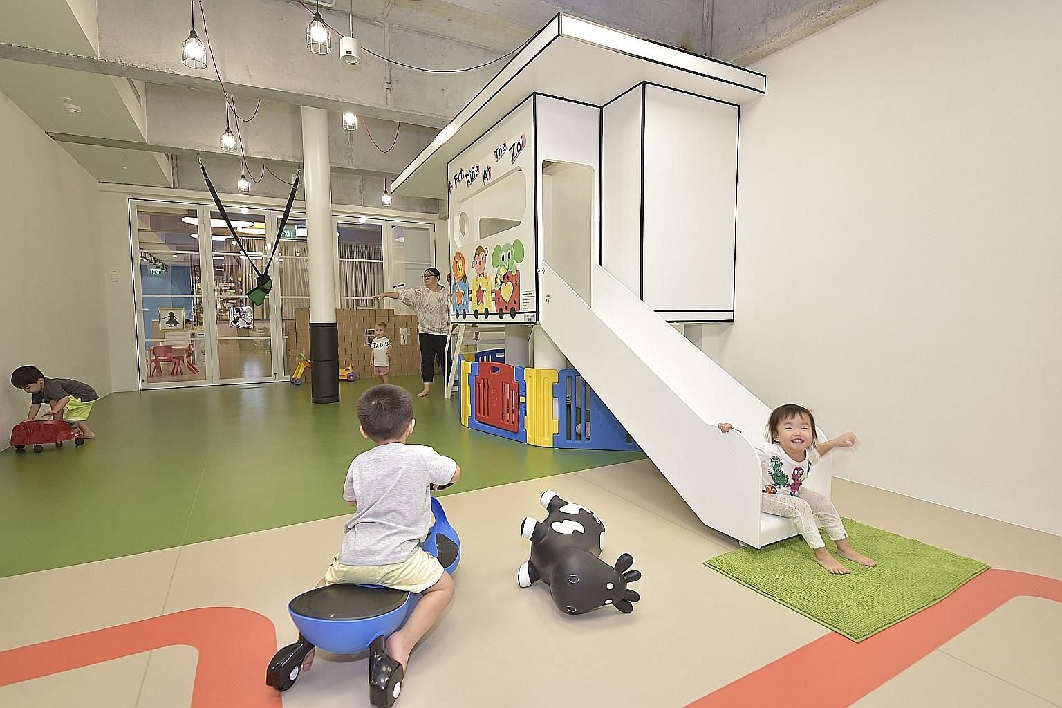 Tots and Teddies pre-school in Cecil Street charges more than $2,200 a month for full-day childcare but offers extras such as an indoor playground with child-friendly toys.