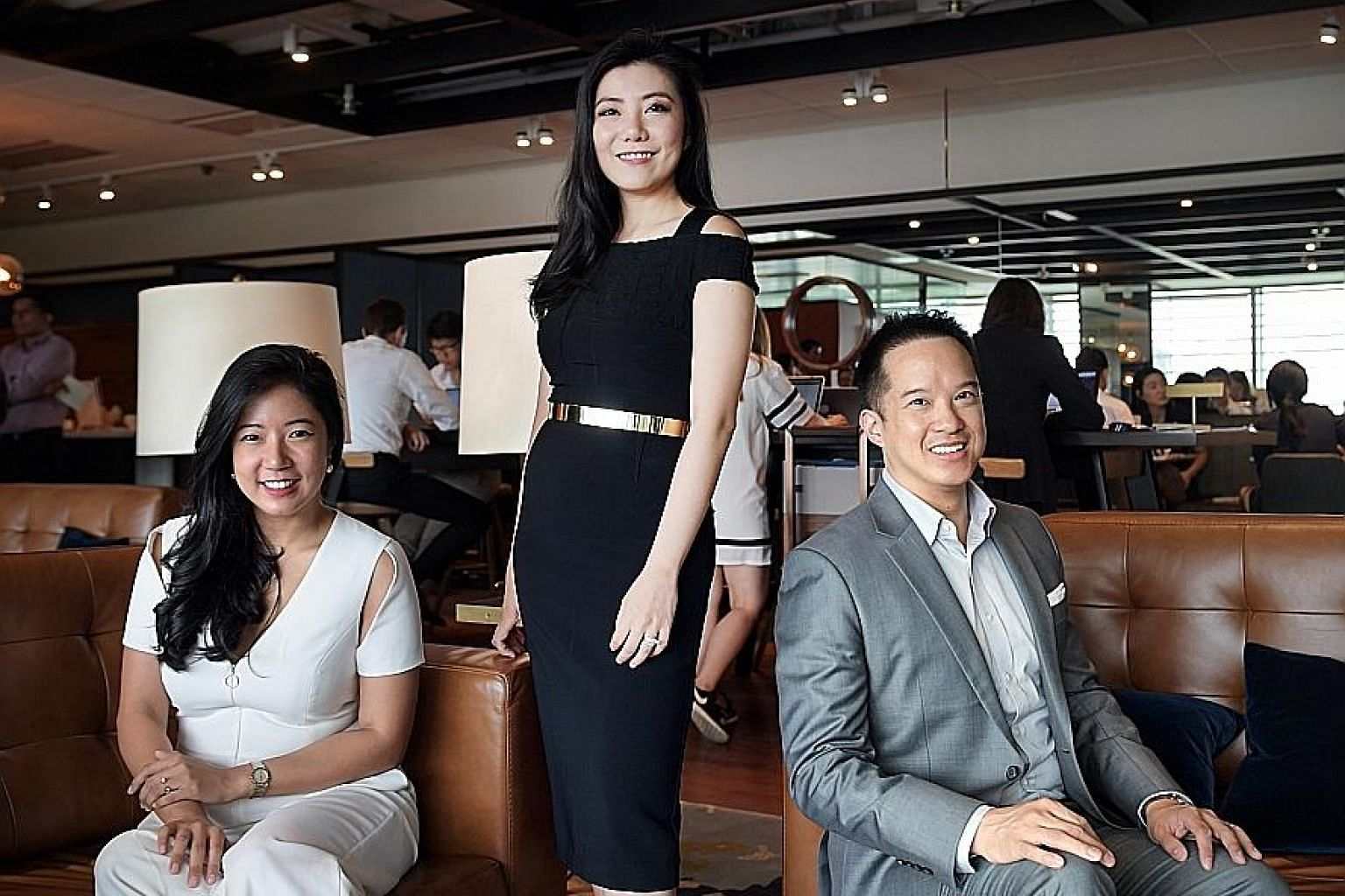 """The Great Room's founders (from left) Su Anne Mi, Jaelle Ang and Yian Huang. Ms Ang said the significance of CapitaLand's investment in the company """"is huge"""" and will help ramp up overseas growth. The brand is looking at opportunities in Hong Kong, J"""