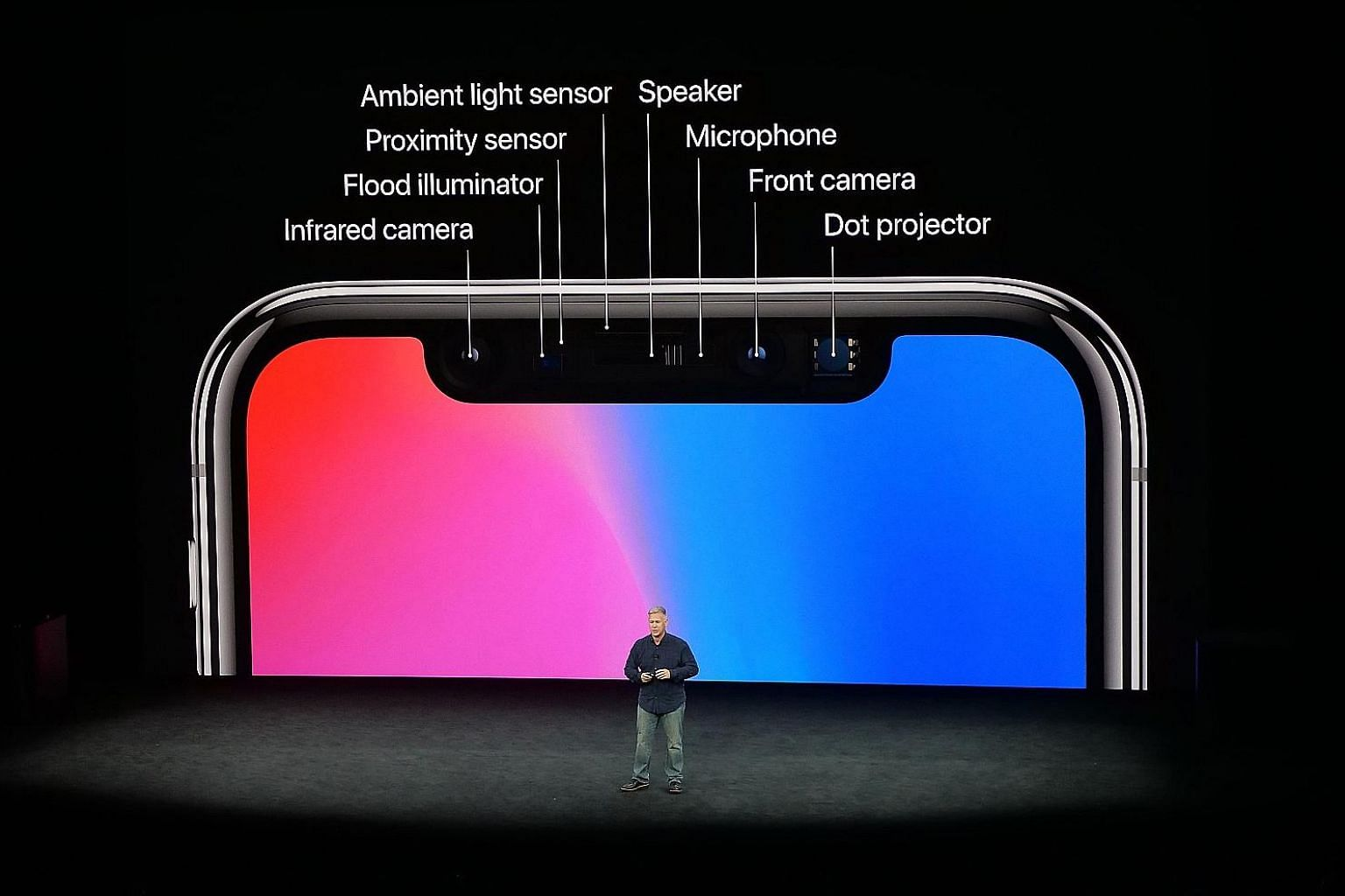 Apple marketing chief Phil Schiller showing off the iPhone X's TrueDepth camera system during the special event at Steve Jobs Theater, Apple Park, Cupertino, last week.