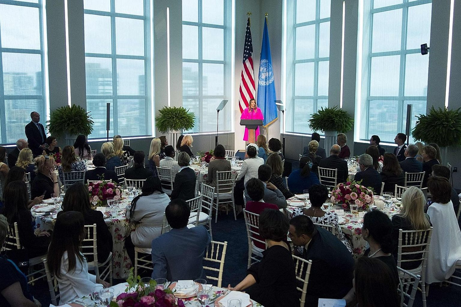 Far right: US First Lady Melania Trump speaking at a luncheon for spouses of world leaders at the US Mission to the UN in New York on Wednesday. Some social media users mocked her speech against bullying given that President Donald Trump himself has