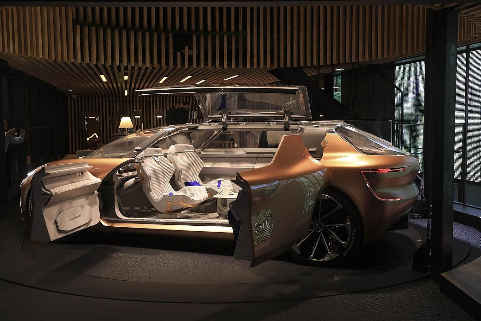 A Renault Symbioz concept car on display at the International Motor Show in Frankfurt last week. The autonomous and electric Symbioz connects wirelessly to home devices and appliances and can function as an additional room when not in use.