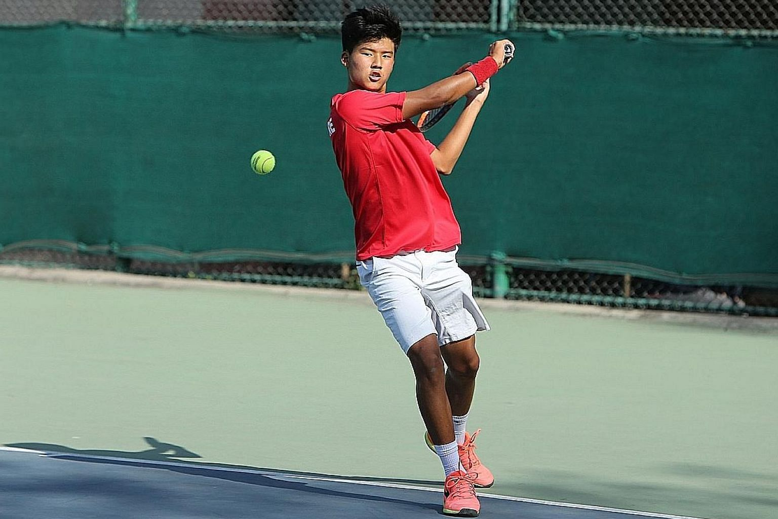 Ethan Lye playing for Singapore at the Asia Oceania Junior Davis Cup under-16 tournament in India in March. Yesterday, he beat top seed Campbell Salmon for the New South Wales Junior International crown.