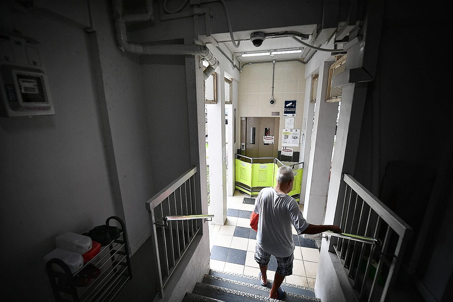 Residents are upset the lift is still out of order, given that the incident occurred on July 1, and that the lift was installed only five years ago. Six families in the four-storey block have had to bear with the hassle of climbing up and down stairs