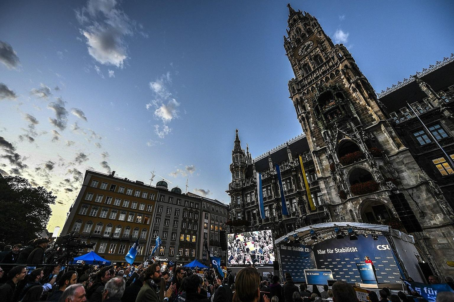 German Chancellor Angela Merkel campaigning at Marienplatz Square in Munich on Friday. Dr Merkel, who has dominated Germany's political life since 2005 and is expected to win another term, may find it to be her hardest yet.