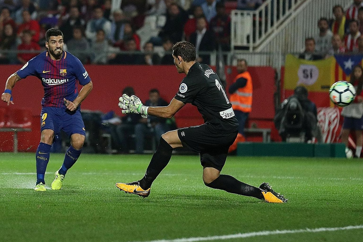 Barcelona striker Luis Suarez firing past Girona goalkeeper Gorka Iraizoz for his side's third and final goal. The Uruguayan international has plundered 87 goals in his 100 Spanish LaLiga games for the Catalan giants.