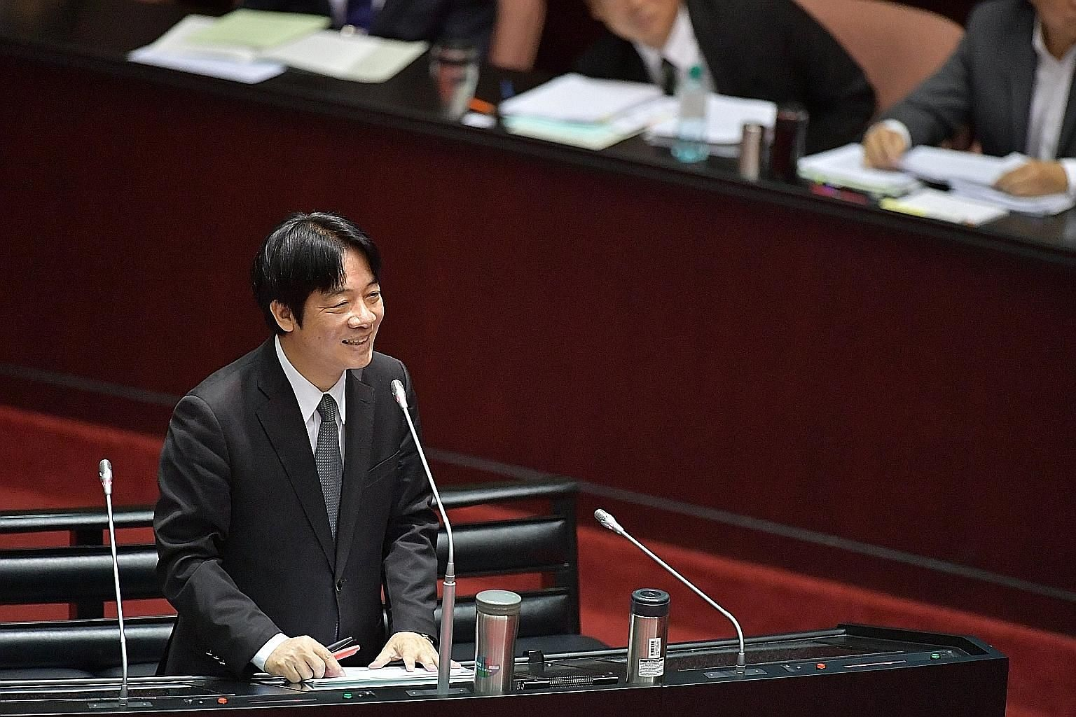 "Taiwan's Premier William Lai says he is a ""pragmatic pro-Taiwan independence theorist"" in his first Parliament speech in Taipei."